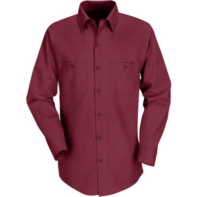 Red Kap® Men's Industrial Work Shirt Long Sleeve Burgundy Regular-M SP14