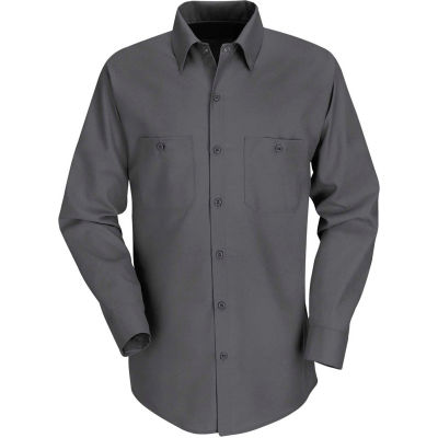 Red Kap® Men's Industrial Work Shirt Long Sleeve Charcoal Regular-L SP14