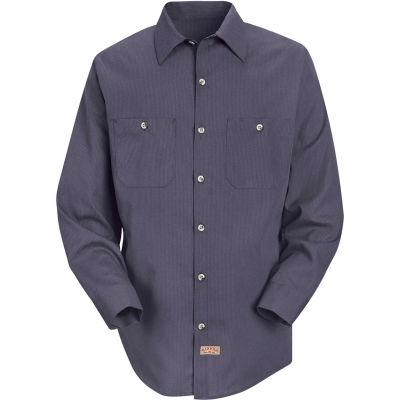 Red Kap® Men's Geometric Micro-Check Work Shirt Blue/Charcoal Microcheck Regular-3XL SP14