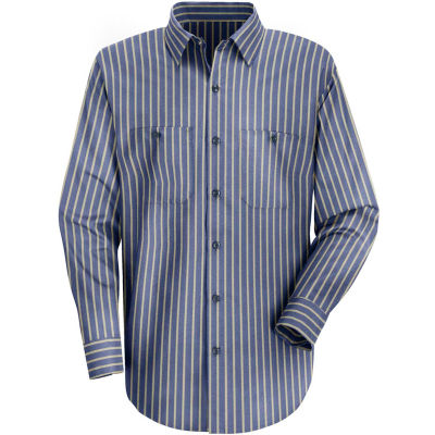 Red Kap® Men's Industrial Stripe Work Shirt Long Sleeve Navy/Khaki Stripe Long-3XL SP14