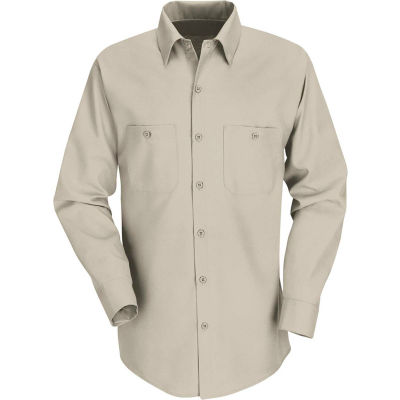 Red Kap® Men's Industrial Work Shirt Long Sleeve Light Tan Regular-2XL SP14