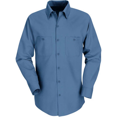 Red Kap® Men's Industrial Work Shirt Long Sleeve Postman Blue Extra Long-XL SP14