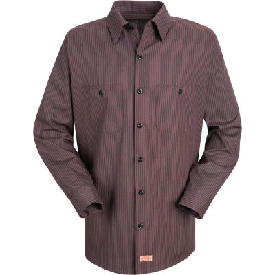 Red Kap® Men's Durastripe Work Shirt Charcoal/Red Twin Stripe Long-3XL SP14-SP14RCLN3XL