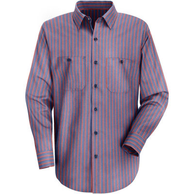 Red Kap® Men's Industrial Stripe Work Shirt Long Sleeve Navy/Red Stripe Regular-M SP14