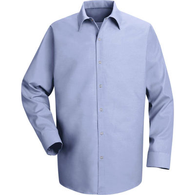 Red Kap® Men's Specialized Pocketless Polyester Work Shirt Long Sleeve Light Blue Reg-3XL SP16