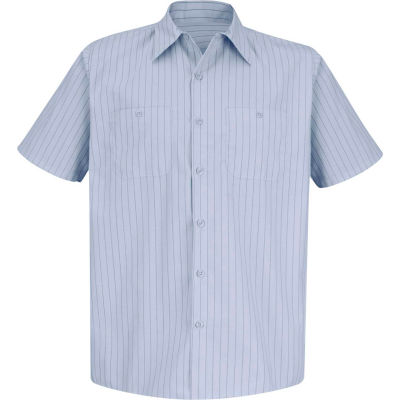 Red Kap® Men's Industrial Stripe Work Shirt Short Sleeve Light Blue/Navy Stripe 2XL SP20