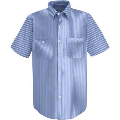 Red Kap® Men's Industrial Stripe Work Shirt Short Sleeve GM Blue/White Stripe 3XL SP20