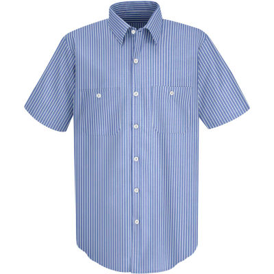 Red Kap® Men's Industrial Stripe Work Shirt Short Sleeve GM Blue/White Stripe Long-L SP20