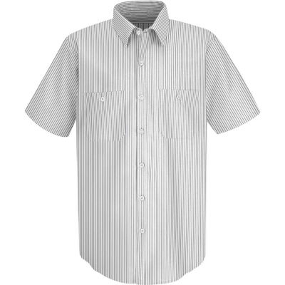 Red Kap® Men's Industrial Stripe Work Shirt Short Sleeve White/Charcoal Stripe Long-XL SP20