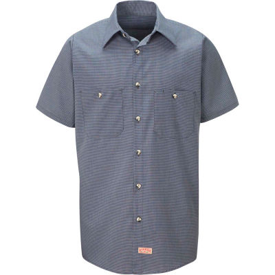 Red Kap® Men's Micro-Check Uniform Shirt Short Sleeve Blue/Charcoal Check Long-2XL SP20