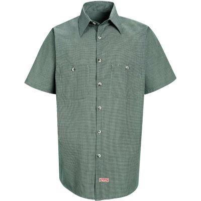 Red Kap® Men's Micro-Check Uniform Shirt Short Sleeve Hunter/Khaki  Check 2XL SP20