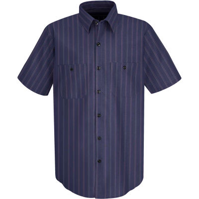 Red Kap® Men's Industrial Stripe Work Shirt Short Sleeve Blue with Brown/White Stripe XL SP20