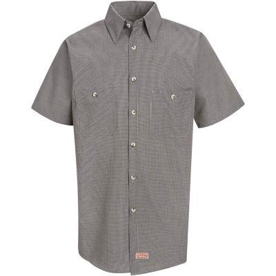 Red Kap® Men's Micro-Check Uniform Shirt Short Sleeve Khaki/Black Check Long-3XL SP20