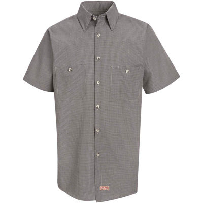 Red Kap® Men's Micro-Check Uniform Shirt Short Sleeve Khaki/Black Check S SP20