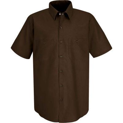Red Kap® Men's Industrial Work Shirt Short Sleeve Chocolate Brown S SP24
