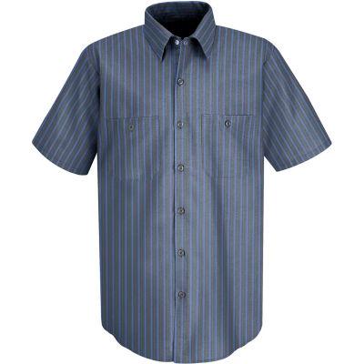 Red Kap® Men's Industrial Stripe Work Shirt Short Sleeve Gray/Blue Stripe L SP24