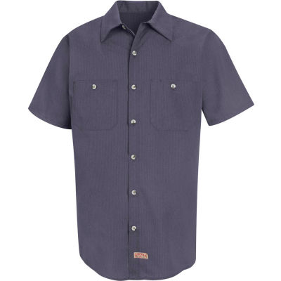 Red Kap® Men's Geometric Micro-Check Work Shirt Blue/Charcoal Microcheck M SP24-SP24GBSSM