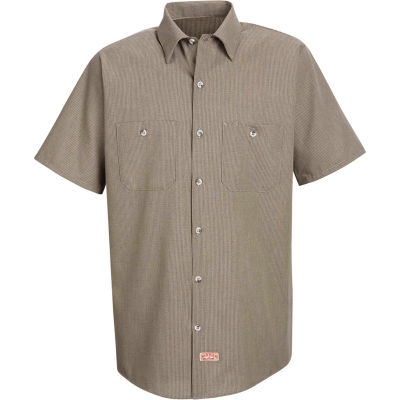 Red Kap® Men's Geometric Micro-Check Work Shirt Khaki/Black Microcheck M SP24-SP24KBSSM