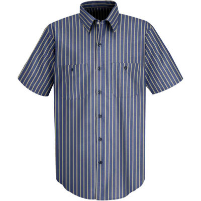 Red Kap® Men's Industrial Stripe Work Shirt Short Sleeve Navy/Khaki Stripe Long-L SP24