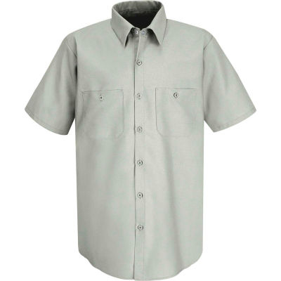 Red Kap® Men's Industrial Work Shirt Short Sleeve Light Gray Long-4XL SP24