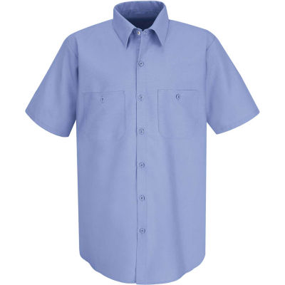 Red Kap® Men's Industrial Work Shirt Short Sleeve Light Blue L SP24