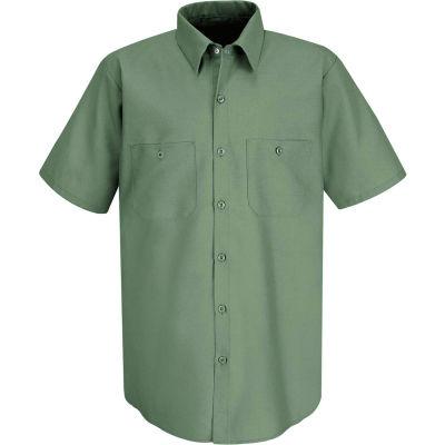 Red Kap® Men's Industrial Work Shirt Short Sleeve Light Green Long-2XL SP24