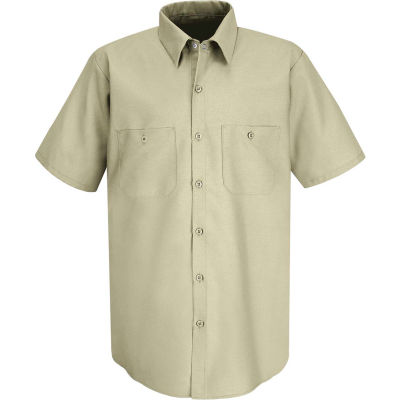 Red Kap® Men's Industrial Work Shirt Short Sleeve Light Tan 4XL SP24