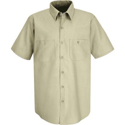 Red Kap® Men's Industrial Work Shirt Short Sleeve Light Tan Long-5XL SP24