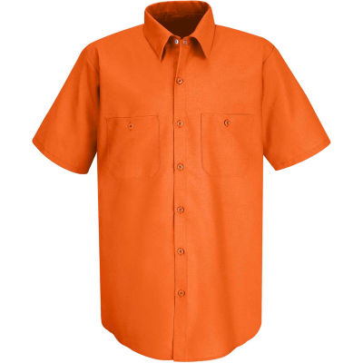 Red Kap® Men's Industrial Work Shirt Short Sleeve Orange M SP24