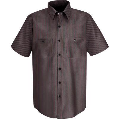 Red Kap® Men's Durastripe Work Shirt Charcoal/Red Twin Stripe L SP24-SP24RCSSL