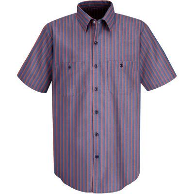 Red Kap® Men's Industrial Stripe Work Shirt Short Sleeve Navy/Red Stripe Long-2XL SP24
