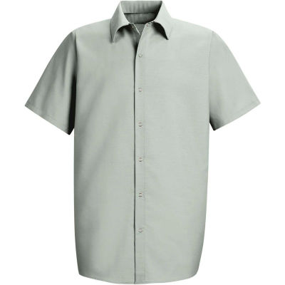 Red Kap® Men's Specialized Pocketless Polyester Work Shirt Short Sleeve Light Gray S SP26