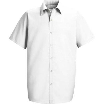Red Kap® Men's Specialized Pocketless Polyester Work Shirt Short Sleeve White Long-3XL SP26