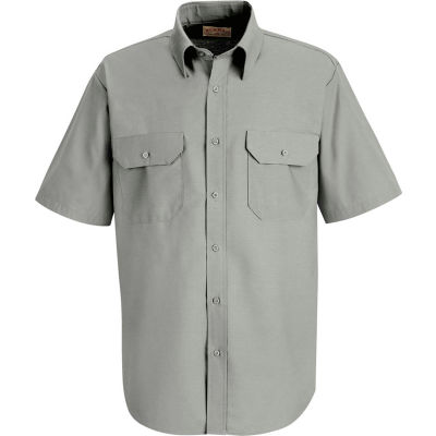 Red Kap® Men's Solid Dress Uniform Shirt Short Sleeve Light Gray L SP60