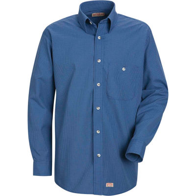 Red Kap® Men's Mini-Plaid Uniform Shirt Long Sleeve Gray/Blue 3XL-367 SP74