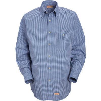 Red Kap® Men's Mini-Plaid Uniform Shirt Long Sleeve White/Blue L-367 SP74