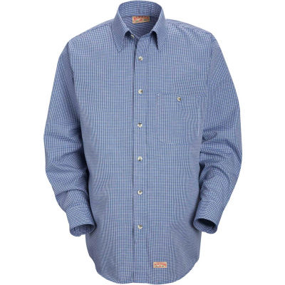 Red Kap® Men's Mini-Plaid Uniform Shirt Long Sleeve White/Blue 2XL-367 SP74