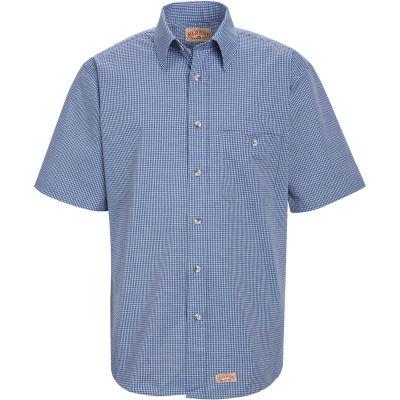 Red Kap® Men's Mini-Plaid Uniform Shirt Short Sleeve White/Blue L SP84