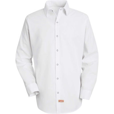 Red Kap® Men's Specialized Pocketless Polyester Work Shirt Long Sleeve White Regular-M SS16