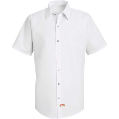 Red Kap® Men's Specialized Pocketless Polyester Work Shirt Short Sleeve White 3XL SS26