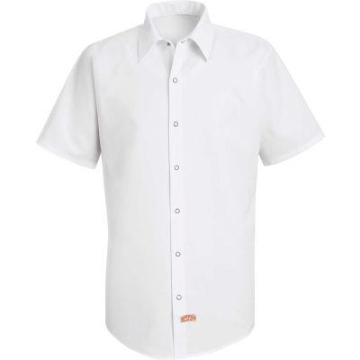 Red Kap® Men's Specialized Pocketless Polyester Work Shirt Short Sleeve White S SS26