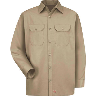 Red Kap® Men's Utility Uniform Shirt Long Sleeve Khaki Regular-M ST52