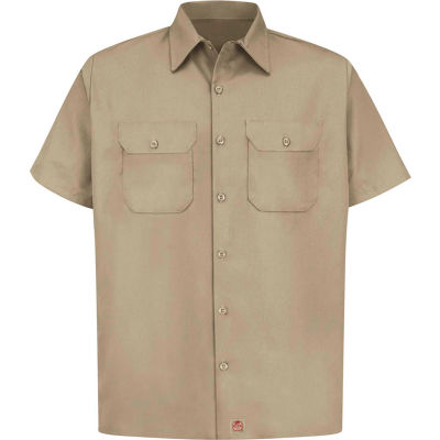Red Kap® Men's Utility Uniform Shirt Short Sleeve Khaki XL ST62