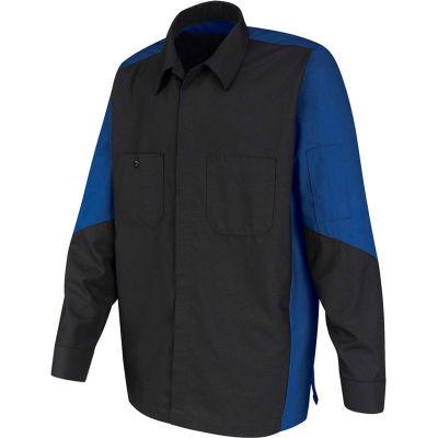 Red Kap® Men's Crew Shirt Long Sleeve Regular-XL Charcoal/Royal Blue SY10