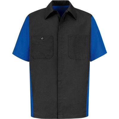 Red Kap® Men's Crew Shirt Short Sleeve M Charcoal/Royal Blue SY20