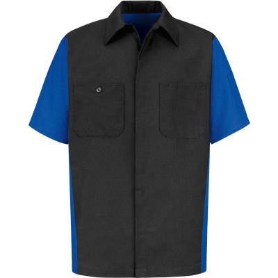 Red Kap® Men's Crew Shirt Short Sleeve M Charcoal/Royal Blue SY20