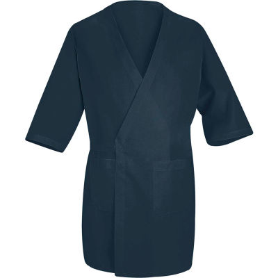 Red Kap® Collarless Butcher Wrap W/Exterior Pockets, Navy, Polyester/Combed Cotton, L
