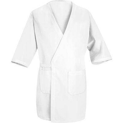 Red Kap® Collarless Butcher Wrap W/Exterior Pockets, White, Polyester/Combed Cotton, L