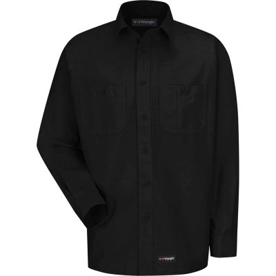 Wrangler® Men's Canvas Long Sleeve Work Shirt Black Long-2XL-WS10BKLNXXL