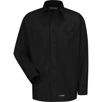 Wrangler® Men's Canvas Long Sleeve Work Shirt Black Regular-4XL-WS10BKRG4XL
